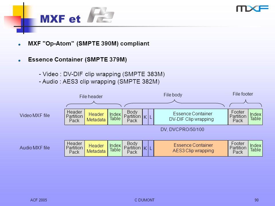 MXF et MXF Op-Atom (SMPTE 390M) compliant
