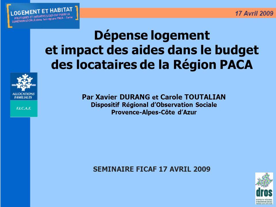 et impact des aides dans le budget des locataires de la Région PACA