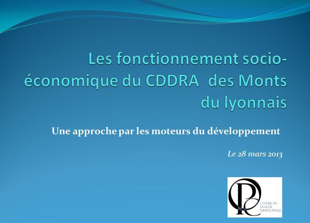 Les fonctionnement socio-économique du CDDRA des Monts du lyonnais