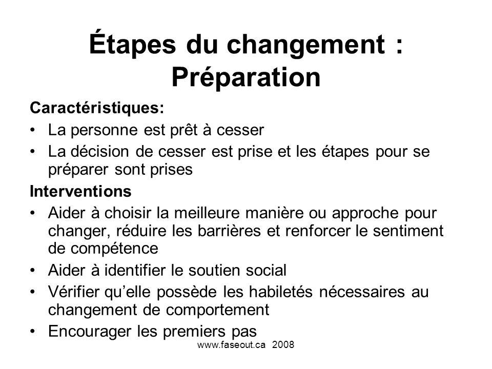 Étapes du changement : Préparation