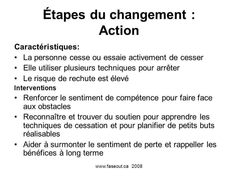 Étapes du changement : Action