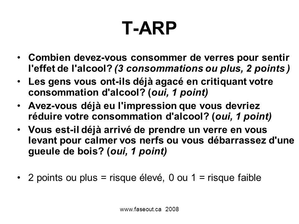 T-ARP Combien devez-vous consommer de verres pour sentir l effet de l alcool (3 consommations ou plus, 2 points )
