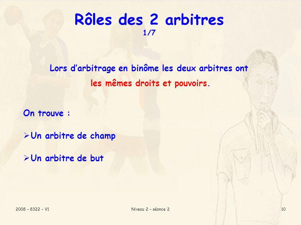 Rôles des 2 arbitres 1/7 Lors d'arbitrage en binôme les deux arbitres ont. les mêmes droits et pouvoirs.