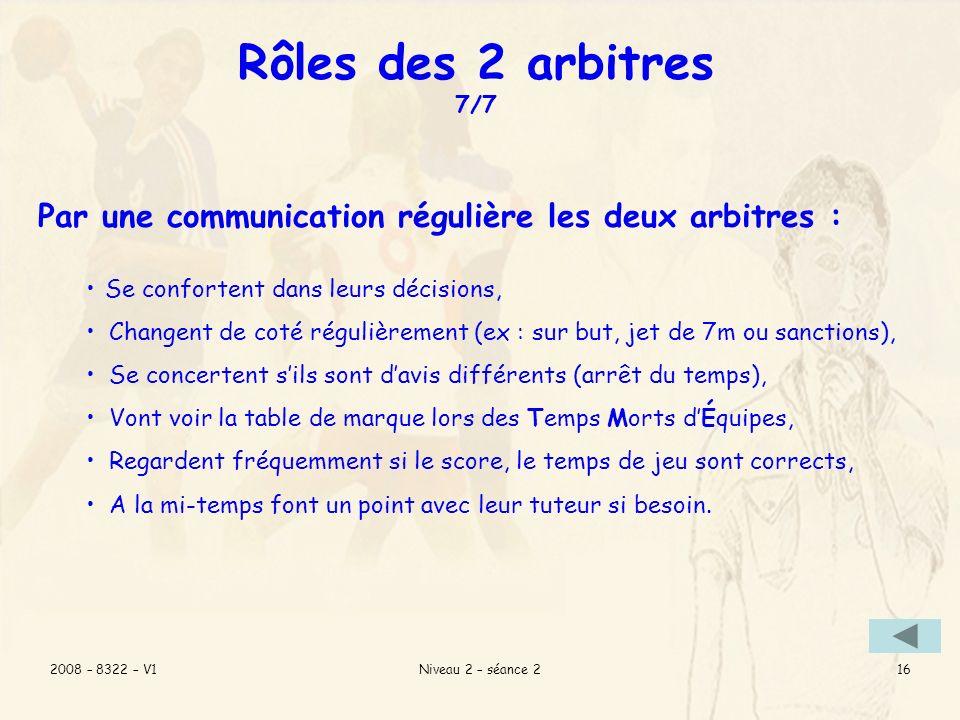 Rôles des 2 arbitres 7/7 Par une communication régulière les deux arbitres : Se confortent dans leurs décisions,