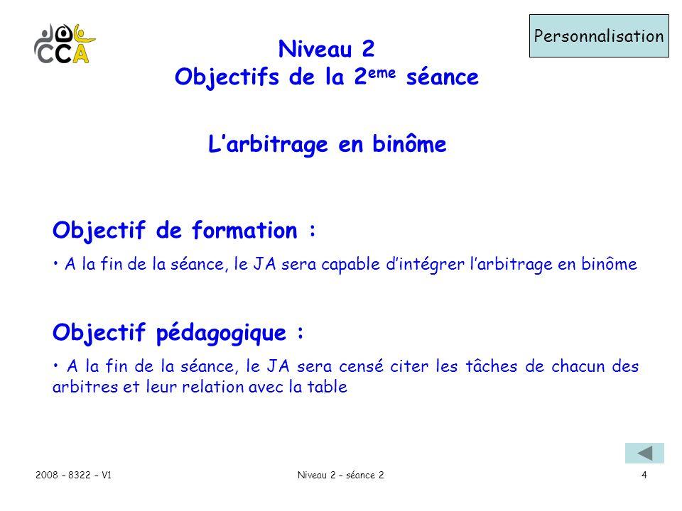 Niveau 2 Objectifs de la 2eme séance