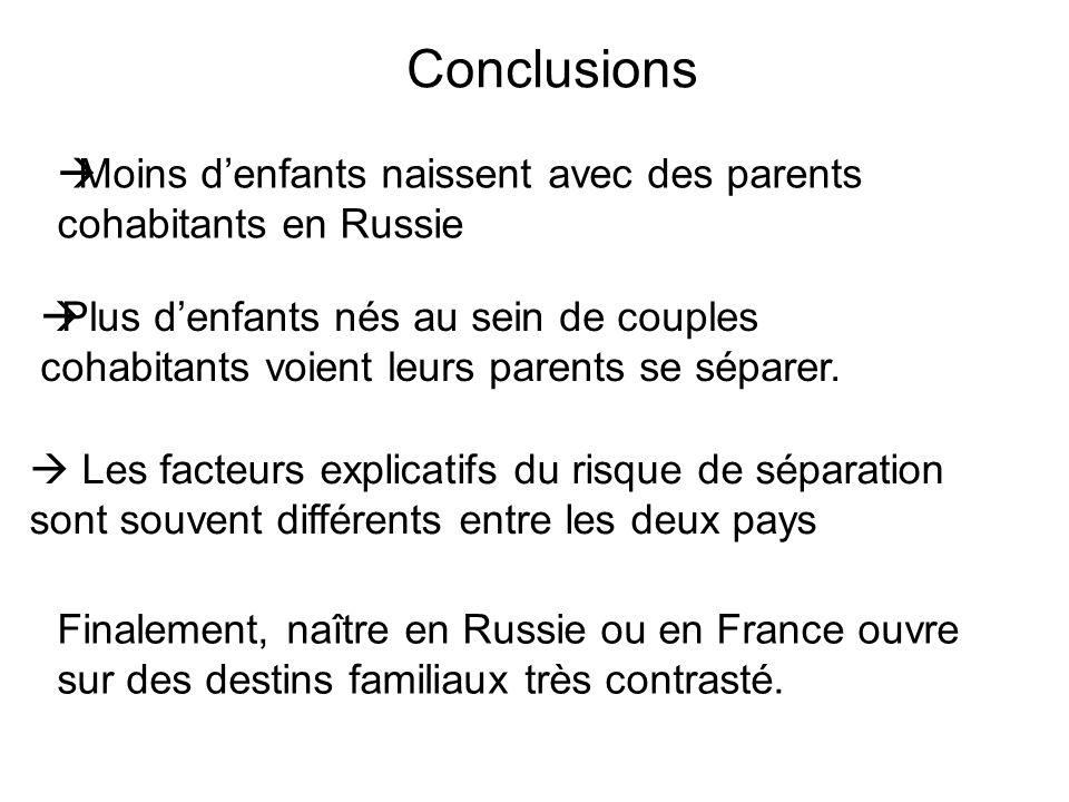 Conclusions Moins d'enfants naissent avec des parents cohabitants en Russie.