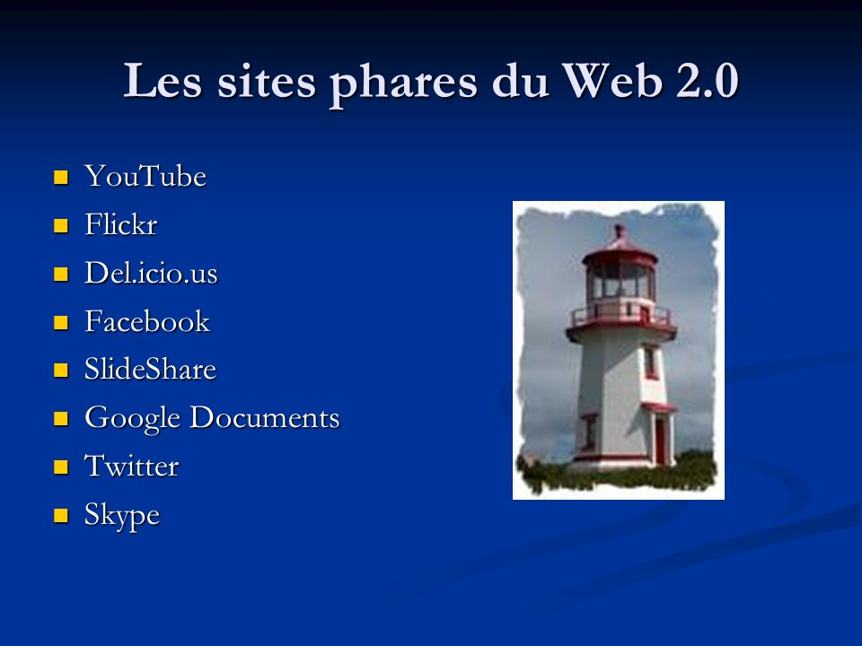 Les sites phares du Web 2.0 YouTube Flickr Del.icio.us Facebook