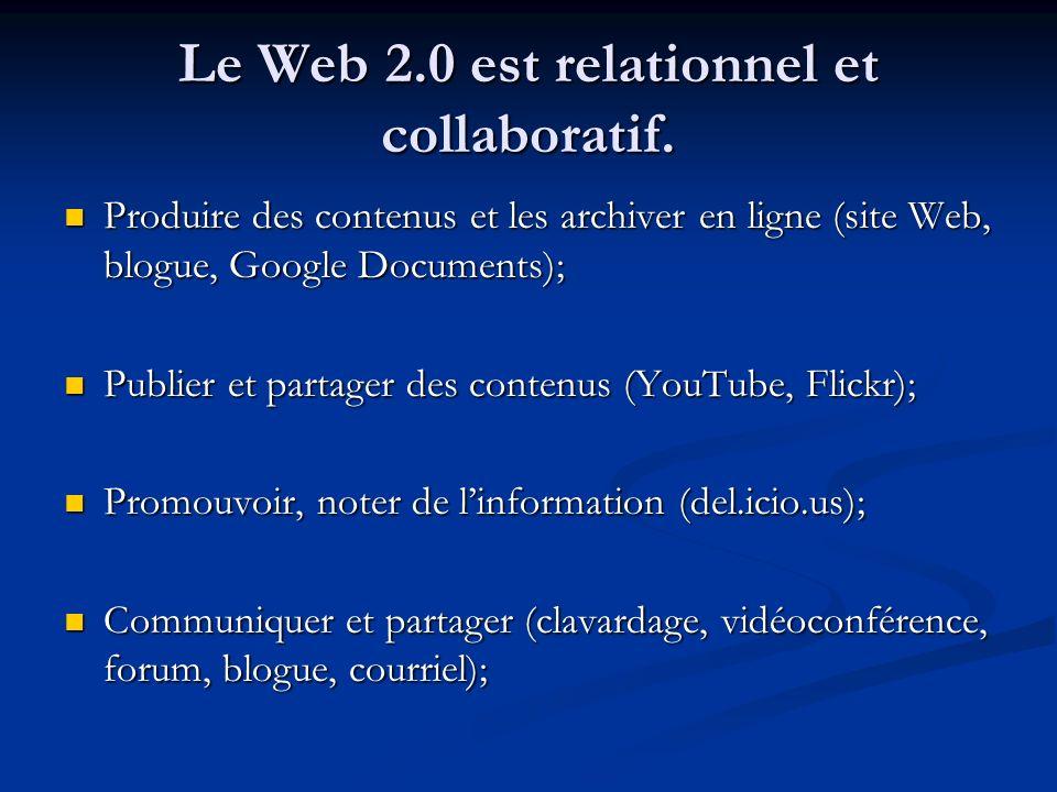 Le Web 2.0 est relationnel et collaboratif.