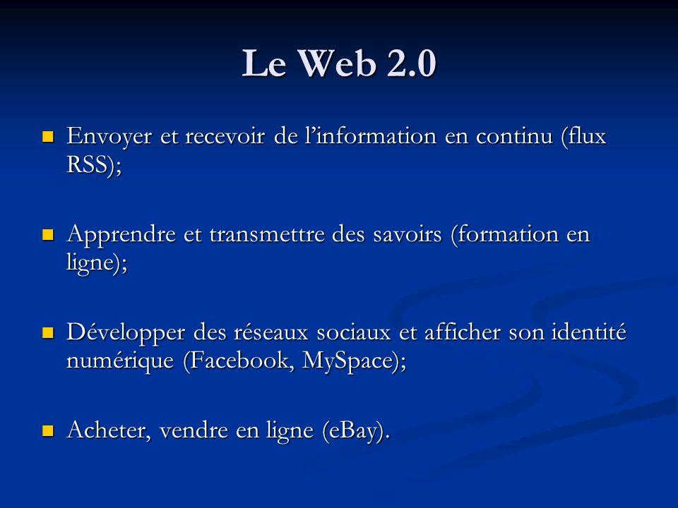 Le Web 2.0 Envoyer et recevoir de l'information en continu (flux RSS);