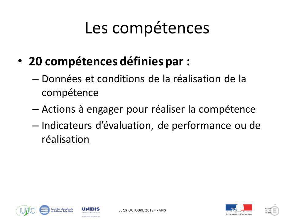 Les compétences 20 compétences définies par :