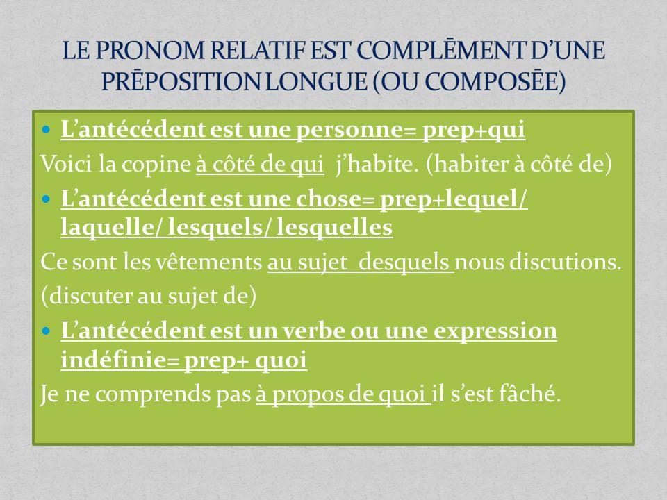 LE PRONOM RELATIF EST COMPLĒMENT D'UNE PRĒPOSITION LONGUE (OU COMPOSĒE)