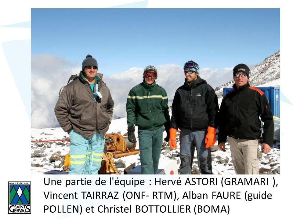 Une partie de l équipe : Hervé ASTORI (GRAMARI ), Vincent TAIRRAZ (ONF- RTM), Alban FAURE (guide POLLEN) et Christel BOTTOLLIER (BOMA)