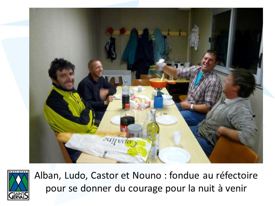 Alban, Ludo, Castor et Nouno : fondue au réfectoire