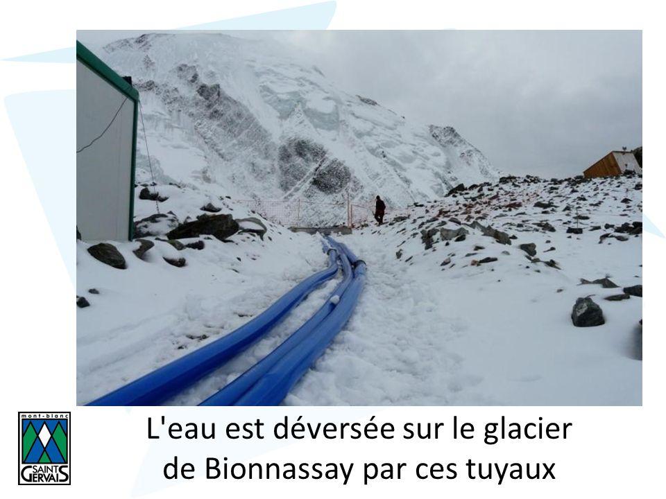 L eau est déversée sur le glacier de Bionnassay par ces tuyaux