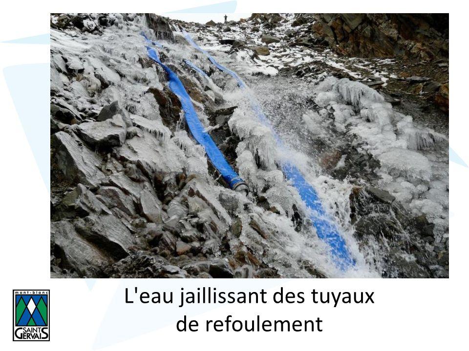 L eau jaillissant des tuyaux