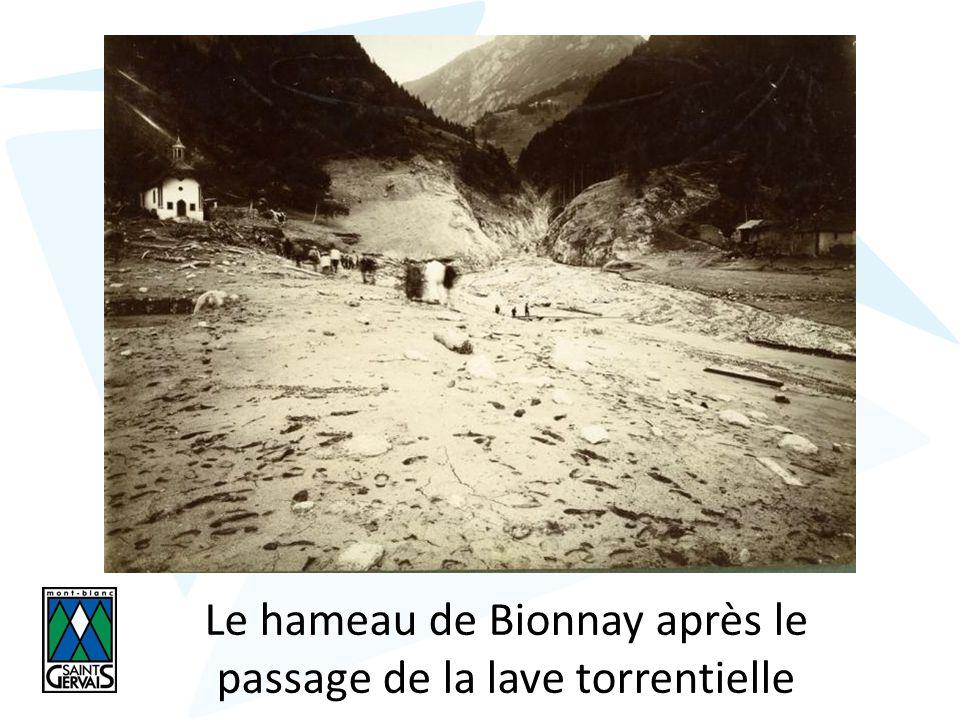 Le hameau de Bionnay après le passage de la lave torrentielle