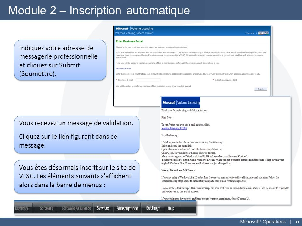 Module 2 – Inscription automatique