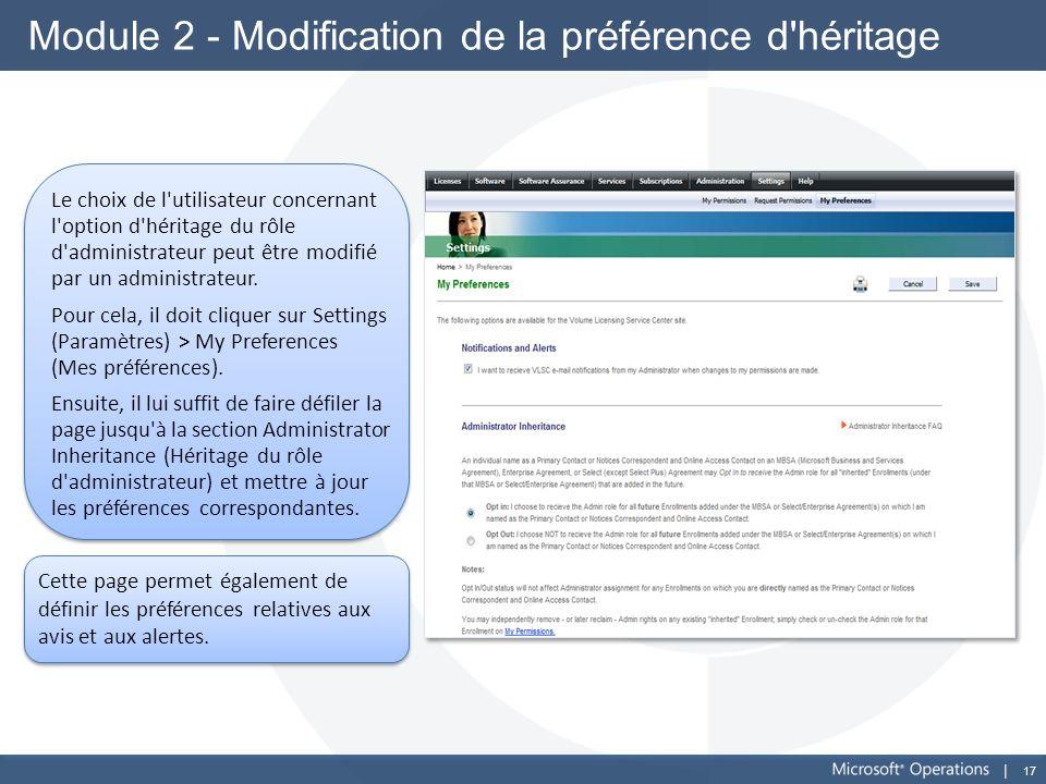 Module 2 - Modification de la préférence d héritage