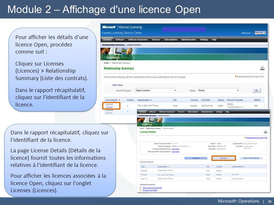 Module 2 – Affichage d une licence Open