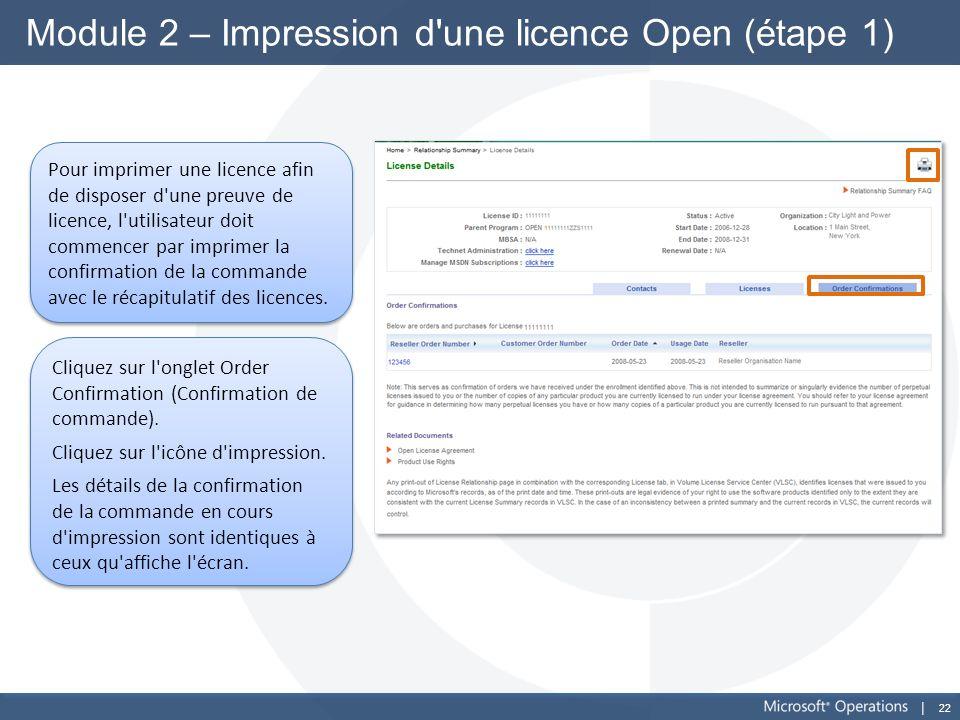 Module 2 – Impression d une licence Open (étape 1)