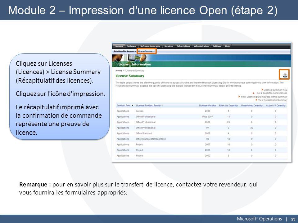 Module 2 – Impression d une licence Open (étape 2)