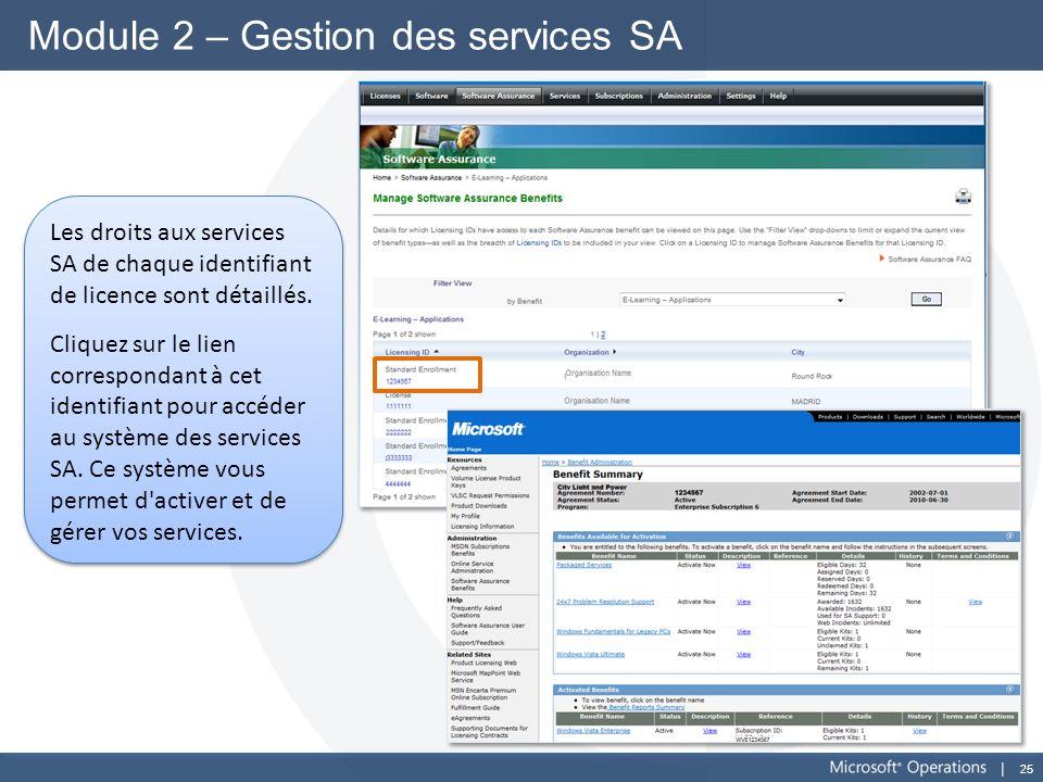 Module 2 – Gestion des services SA