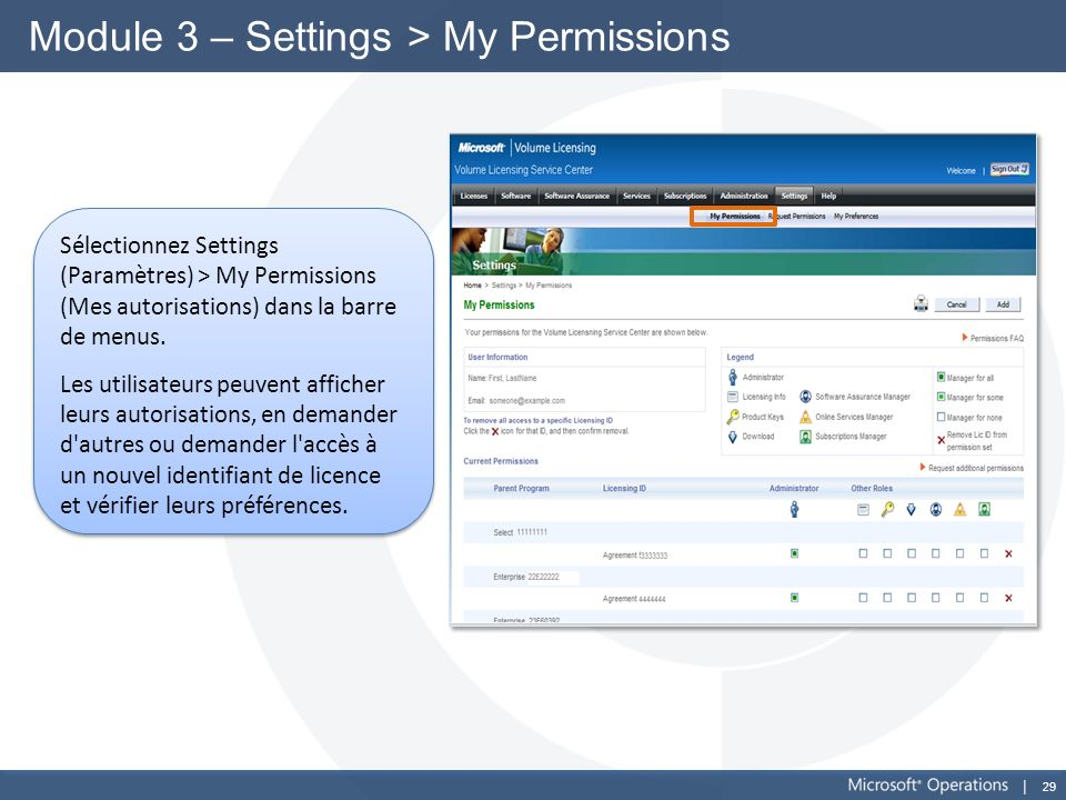 Module 3 – Settings > My Permissions
