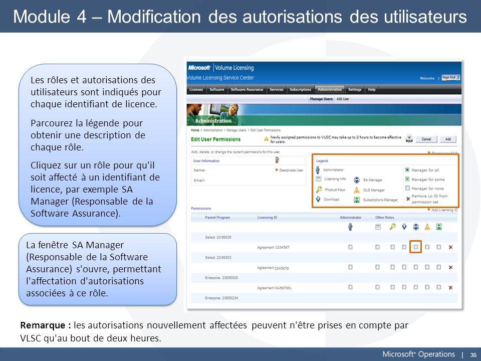 Module 4 – Modification des autorisations des utilisateurs