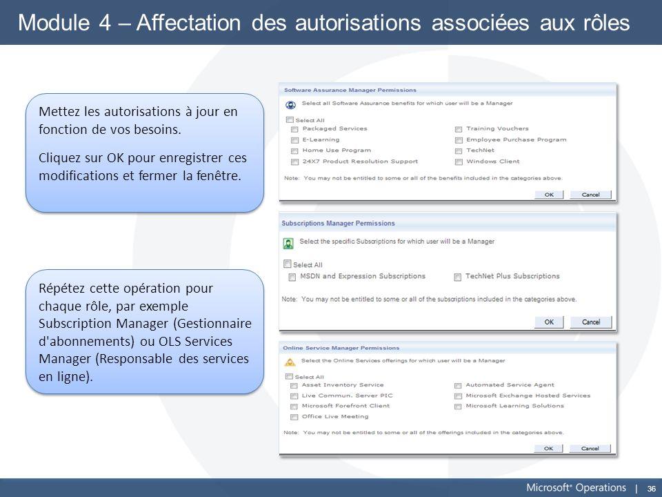 Module 4 – Affectation des autorisations associées aux rôles