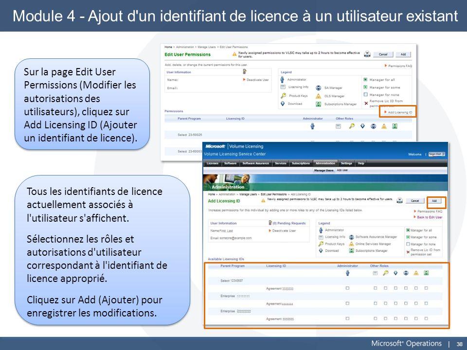 Module 4 - Ajout d un identifiant de licence à un utilisateur existant