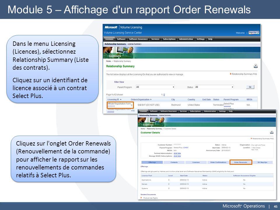 Module 5 – Affichage d un rapport Order Renewals