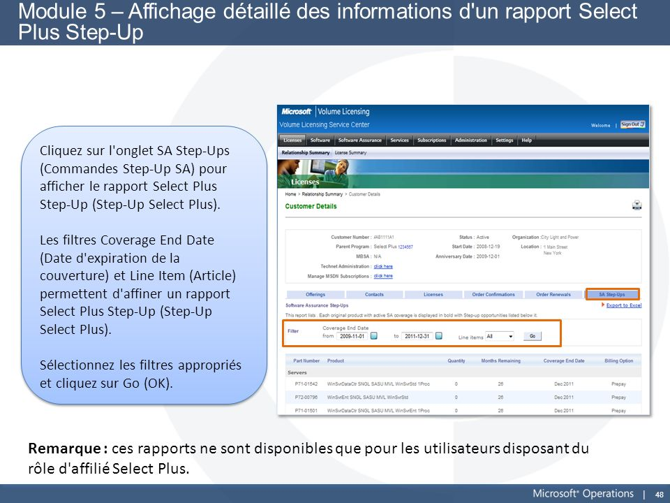 Module 5 – Affichage détaillé des informations d un rapport Select Plus Step-Up