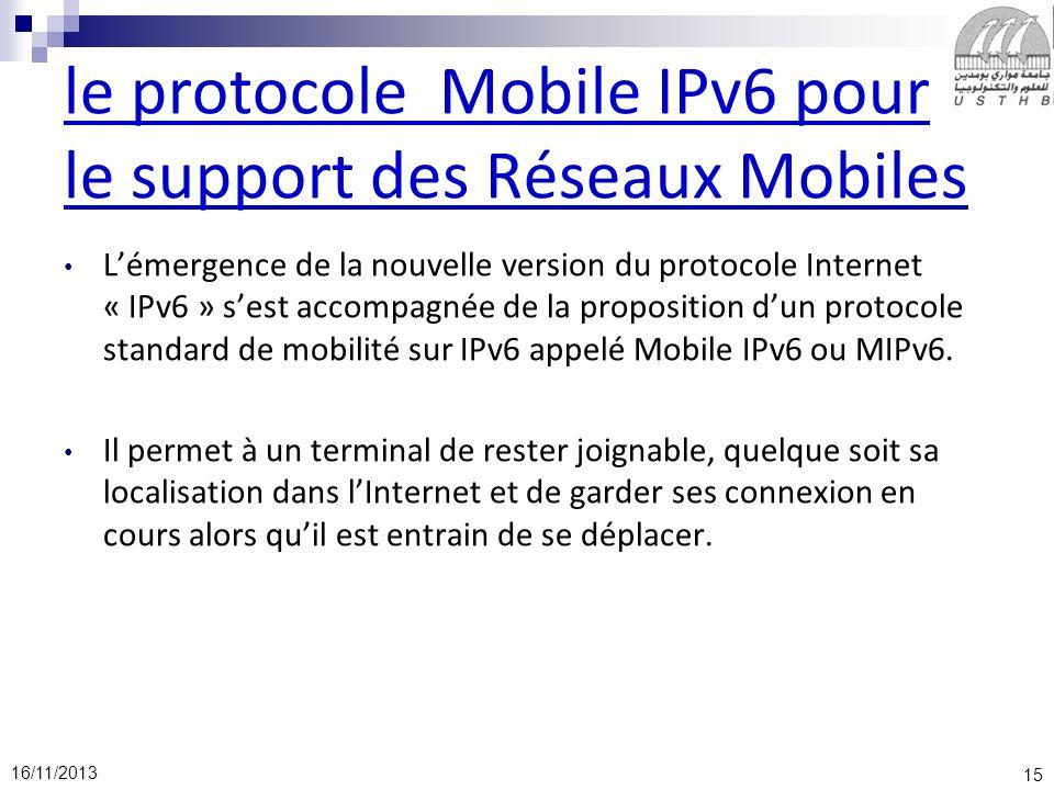 le protocole Mobile IPv6 pour le support des Réseaux Mobiles