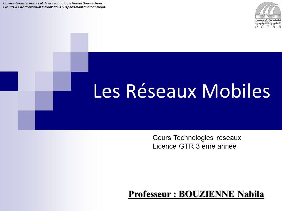 Les Réseaux Mobiles Professeur : BOUZIENNE Nabila