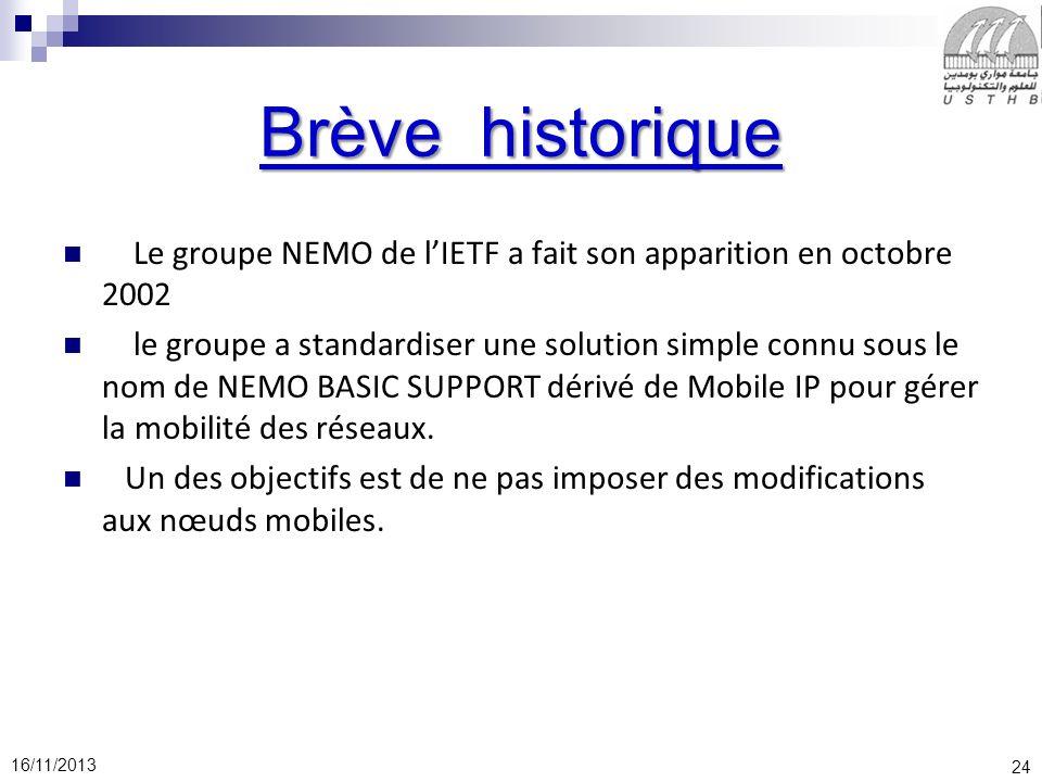 Brève historique Le groupe NEMO de l'IETF a fait son apparition en octobre 2002.