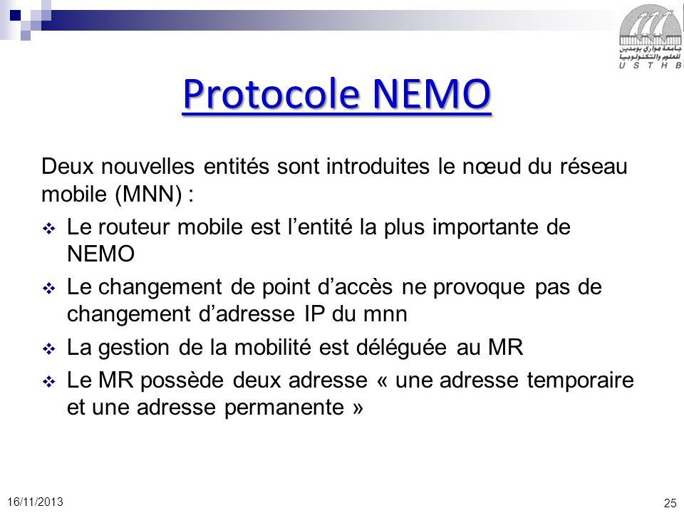 Protocole NEMO Deux nouvelles entités sont introduites le nœud du réseau mobile (MNN) : Le routeur mobile est l'entité la plus importante de NEMO.