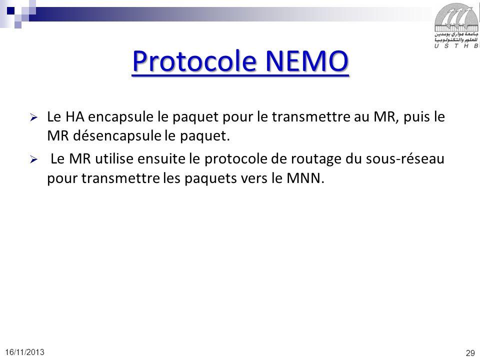 Protocole NEMO Le HA encapsule le paquet pour le transmettre au MR, puis le MR désencapsule le paquet.