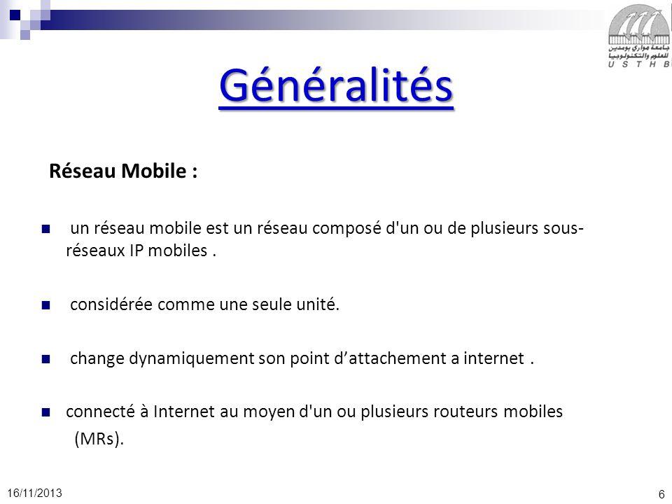 Généralités Réseau Mobile :
