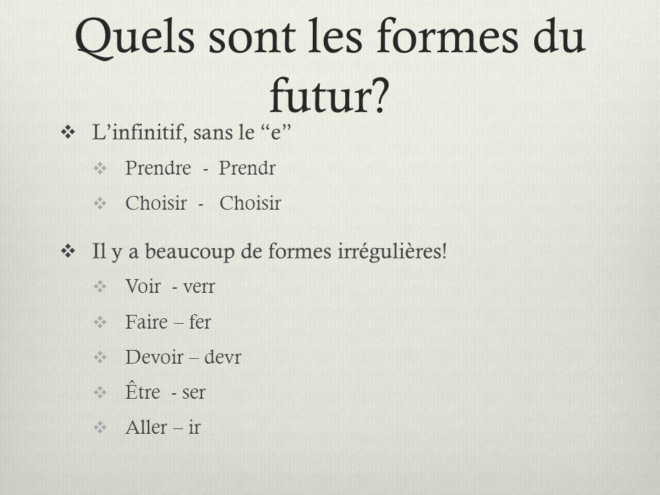 Quels sont les formes du futur