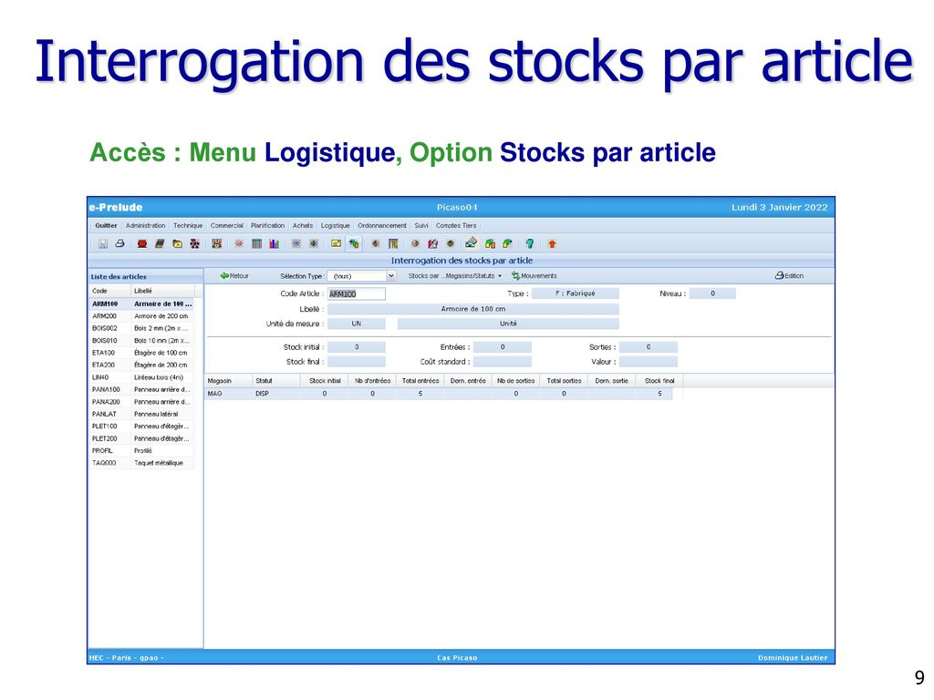 Interrogation des stocks par article