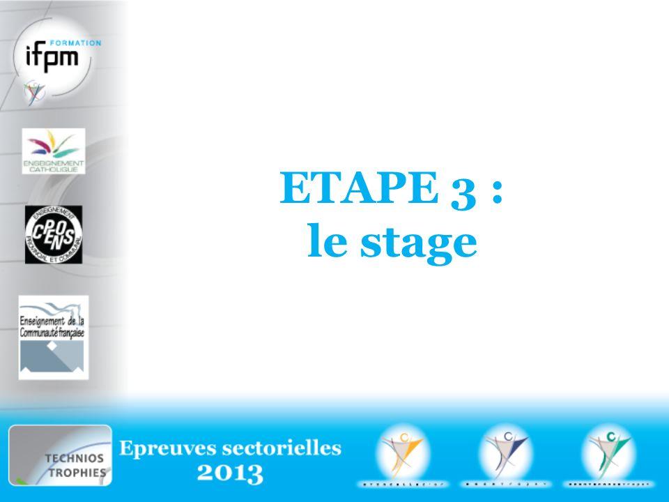 ETApe 3 : le stage