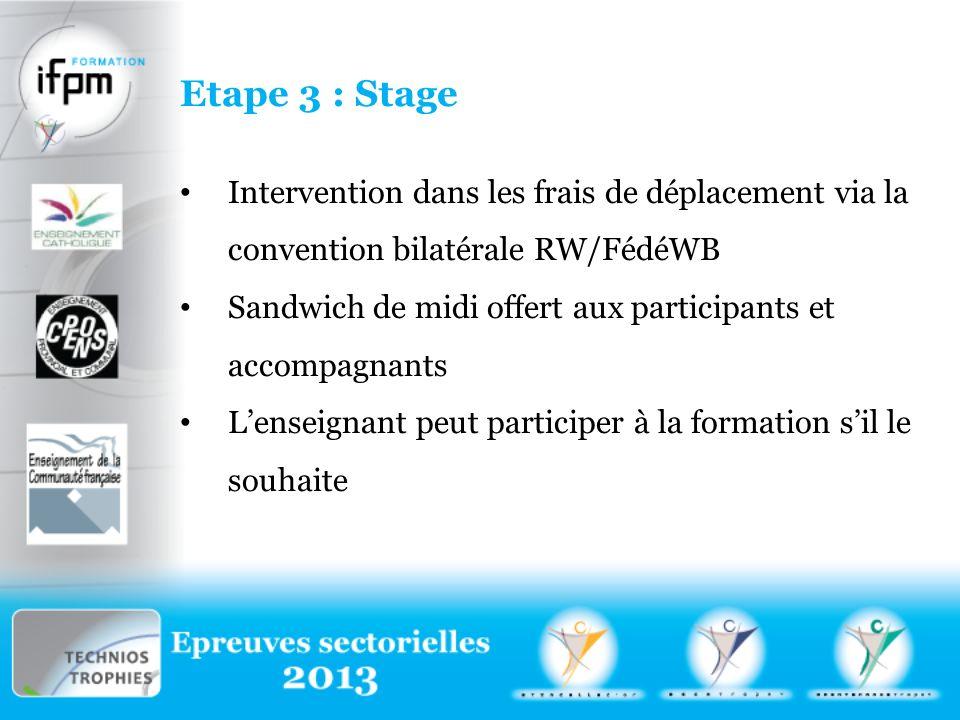 Etape 3 : Stage Intervention dans les frais de déplacement via la convention bilatérale RW/FédéWB.