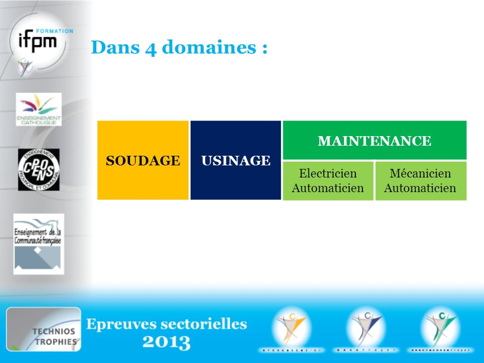 Dans 4 domaines : SOUDAGE USINAGE MAINTENANCE Electricien Automaticien