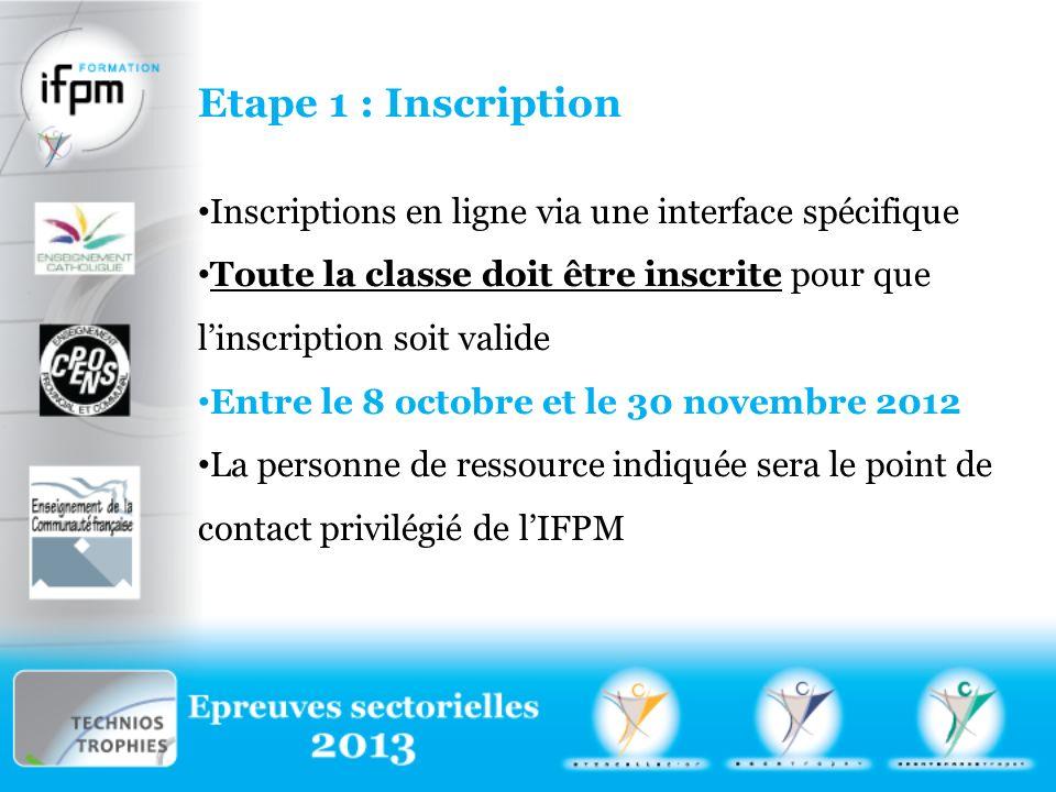 Etape 1 : Inscription Inscriptions en ligne via une interface spécifique. Toute la classe doit être inscrite pour que l'inscription soit valide.