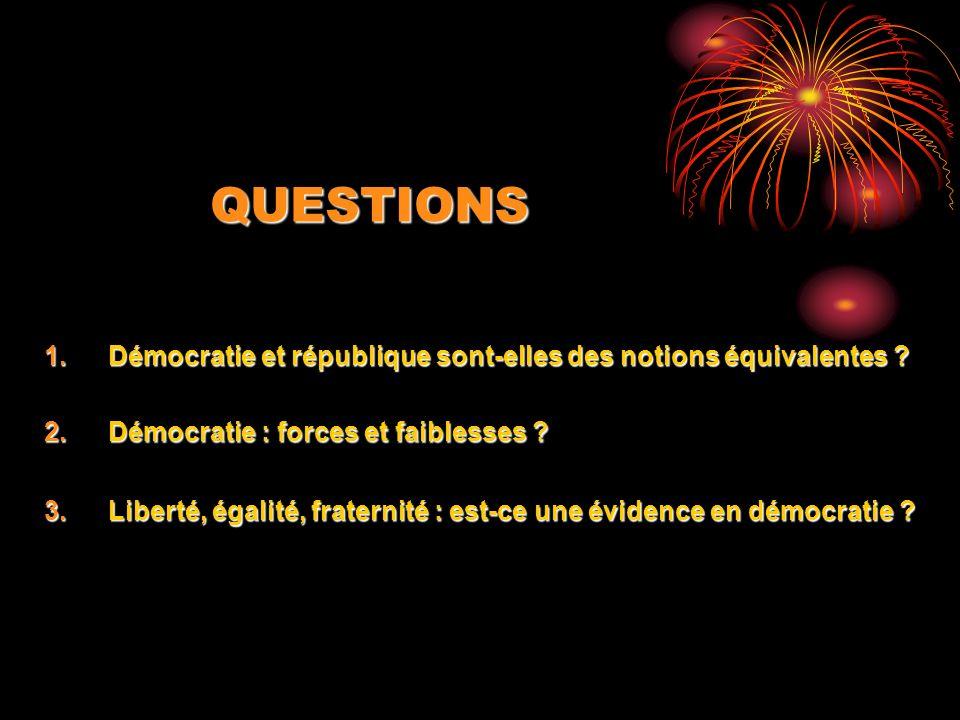 QUESTIONS Démocratie et république sont-elles des notions équivalentes Démocratie : forces et faiblesses