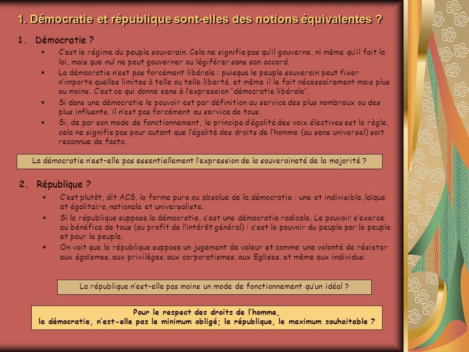 1. Démocratie et république sont-elles des notions équivalentes
