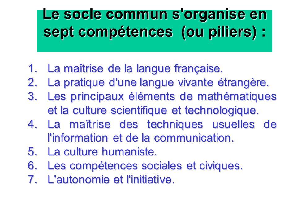 Le socle commun s organise en sept compétences (ou piliers) :