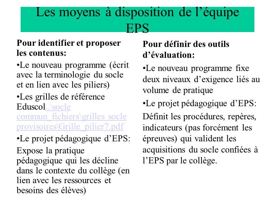 Les moyens à disposition de l'équipe EPS
