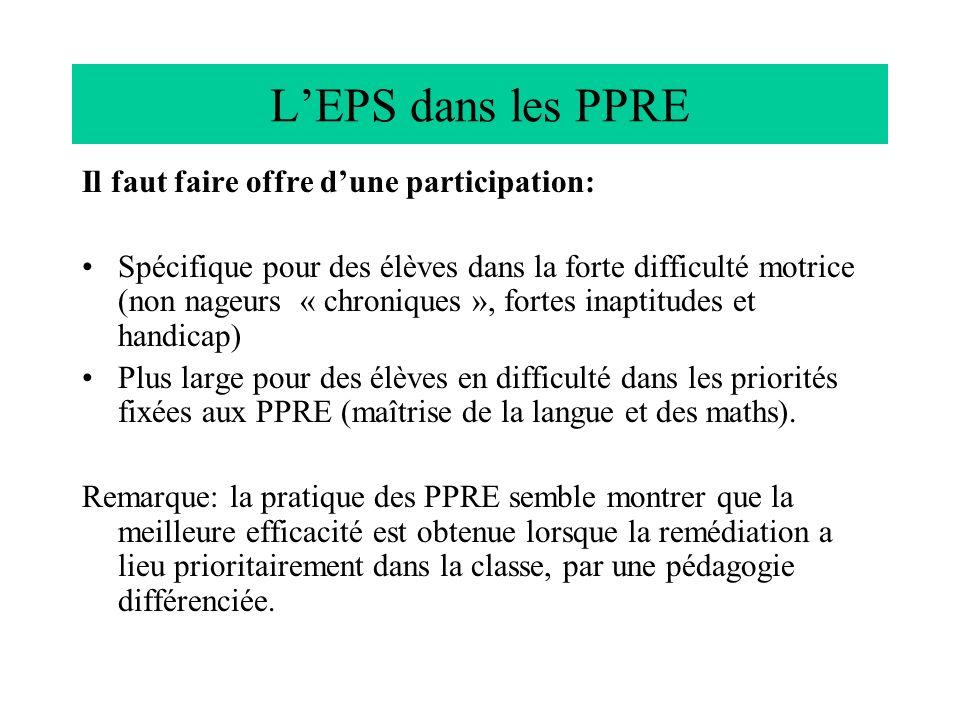 L'EPS dans les PPRE Il faut faire offre d'une participation: