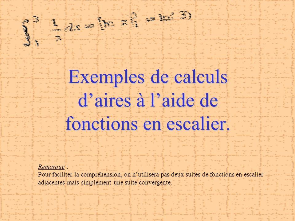 Exemples de calculs d'aires à l'aide de fonctions en escalier.
